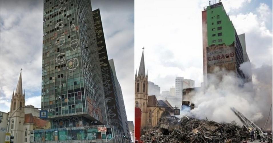 1º.mai.2018 - Imagem do Google Maps (à esq.) mostra o prédio de 24 andares situado no Largo do Paissandu, no centro de São Paulo, antes do desabamento provocado por um incêndio no imóvel. Em fotografia registrada após a tragédia (à dir.), bombeiros trabalham em busca de possíveis sobreviventes