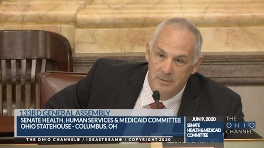 O senador republicano Steve Huffman durante sessão do Comitê de Saúde do Senado dos EUA - Reprodução/The Ohio Channel