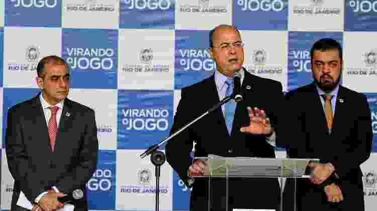 Edmar Santos (à esq.) e Wilson Witzel (ao centro) - Carlos Magno/ Divulgação/ Governo do Rio - Carlos Magno/ Divulgação/ Governo do Rio