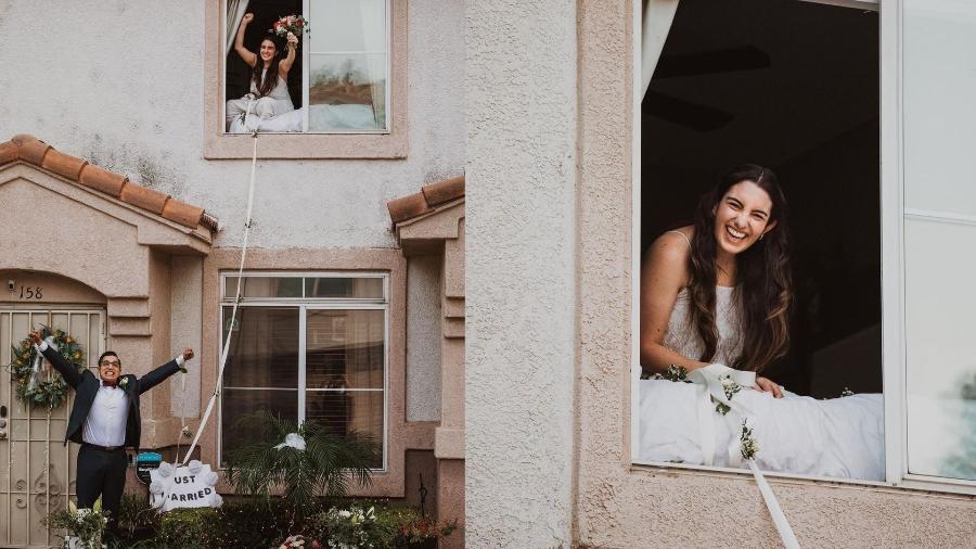 """Patrick Delgado e Lauren Jimenez se casaram em cerimônia estilo filme """"Enrolados"""" depois que a noiva testou positivo para a covid-19 - Reprodução/Instagram/@jesscaste"""
