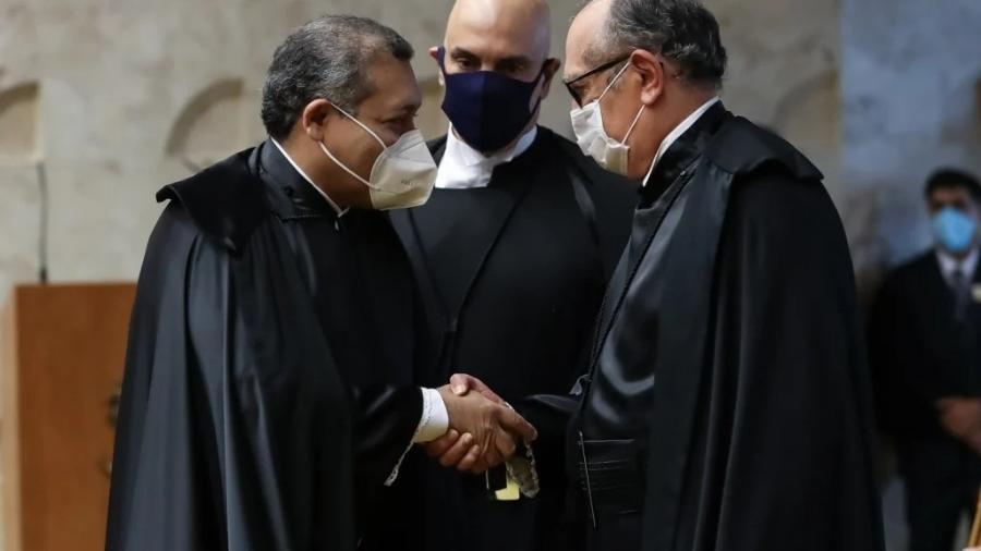Kassio Nunes Marques, Alexandre de Moraes (centro) e Gilmar Mendes - Marcos Corrêa/Presidência da República