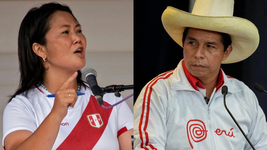 Pedro Castillo e Keiko Fujimori disputam voto a voto a vitória nas eleições presidenciais do Peru - Cesar Bazan e Martin Mejia/AFP