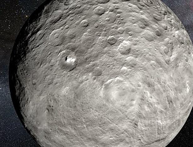 15.mar.2016 - CERES BRILHANTE-  Observações obtidas com o espectrógrafo (gráficos que analisam dinamicamente a densidade espectral de energia) HARPS no observatório de La Silla, do ESO (Observatório Europeu do Sul), no Chile, revelaram variações inesperadas nas manchas brilhantes do planeta anão Ceres. Embora Ceres pareça pouco mais que um ponto de luz quando visto a partir da Terra, estudos detalhados da sua radiação mostram não apenas as variações esperadas nas manchas devido à rotação de Ceres, mas também que estas estruturas se tornam mais luminosas durante o dia, entre outras variações. Estas observações sugerem que o material destas manchas é volátil e se evapora com o calor da luz solar