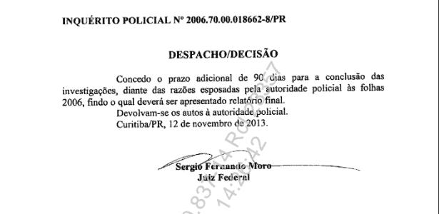 Após sete anos de investigações, depois de prolongar por 120 dias, Moro concede mais 90 dias - Reprodução/UOL
