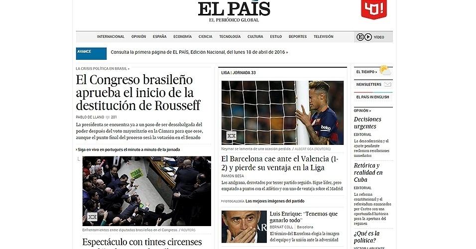 """17.abr.2016 - Jornal espanhol """"El País"""" transmitiu a votação, em português, e deu grande destaque ao resultado da votação do impeachment na Câmara dos Deputados"""