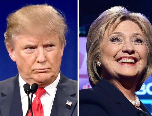 Donald Trump (à esquerda) e Hillary Clinton, pré-candidatos à Casa Branca