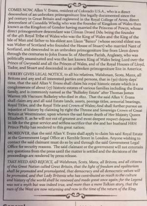 "Anúncio de Allan V. Evans publicado no jornal ""The Times"""