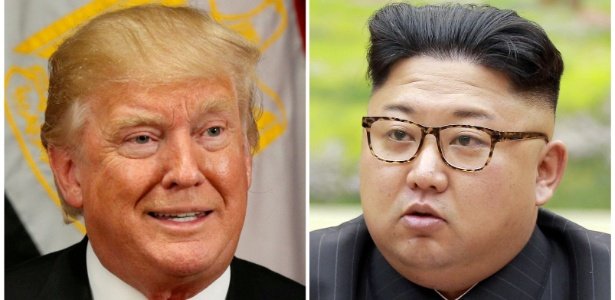 O presidente dos EUA, Donald Trump (esq.), e o ditador da Coreia do Norte, Kim Jong-un