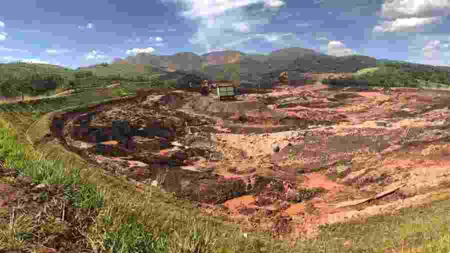 25.jan.2019 - Imagem da lama que se espalhou pela região de Brumadinho (MG) após rompimento de uma barragem da mineradora Vale - Uarlen Valério/O Tempo/Estadão Conteúdo