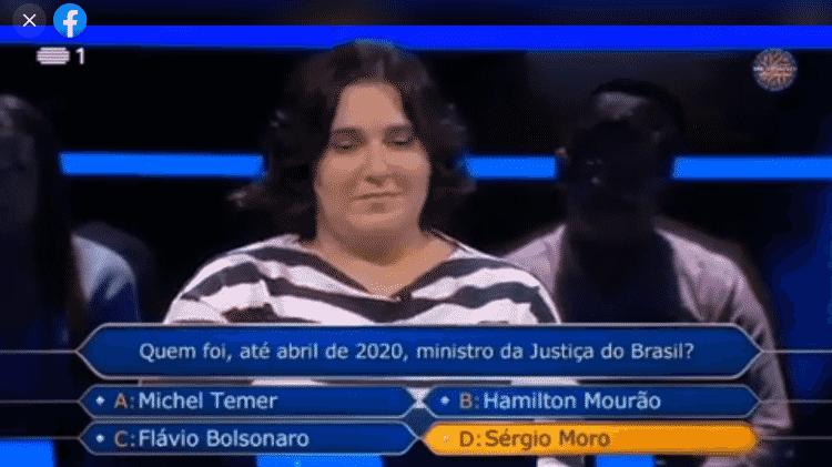 Participante do Quem Quer Ser um Milionário Alta Pressão, de Portugal, chama Jair de Fora Bolsonaro - Reprodução/Facebook - Reprodução/Facebook