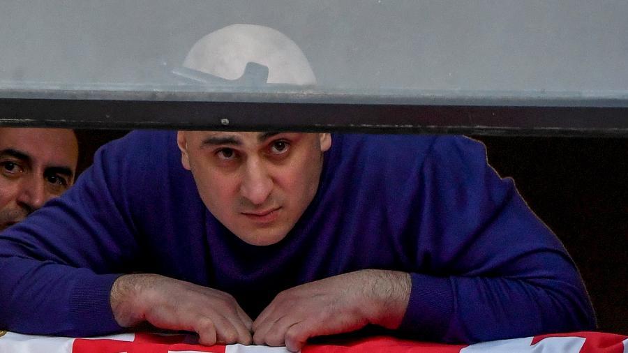 23.fev.2021 - Nika Melia, líder do principal partido de oposição georgiano, o Movimento Nacional Unido - Vano Shlamov / AFP