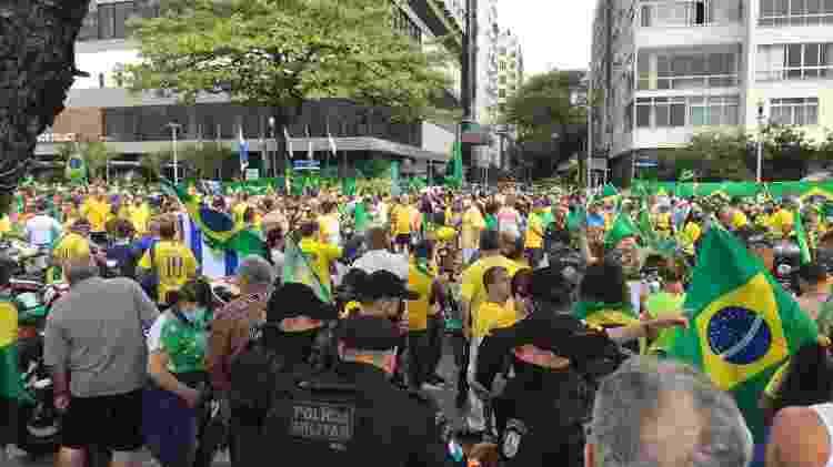7.set.2021 -Manifestantes pró-Bolsonaro reunidos em ato em Copacabana, no Rio de Janeiro - Marcela Lemos/UOL - Marcela Lemos/UOL