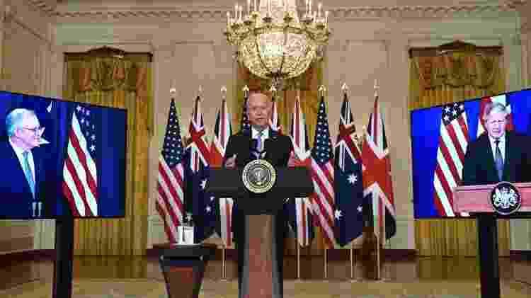 Morrison, Biden e Johnson anunciam o pacto militar Aukus - Getty Images - Getty Images