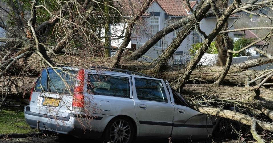 28.mar.2016 - Carro é atingido por árvore durante a tempestade Katie, em Londres, Inglaterra. Pelo menos 150 voos foram suspensos por conta dos ventos de mais de 100 km/h