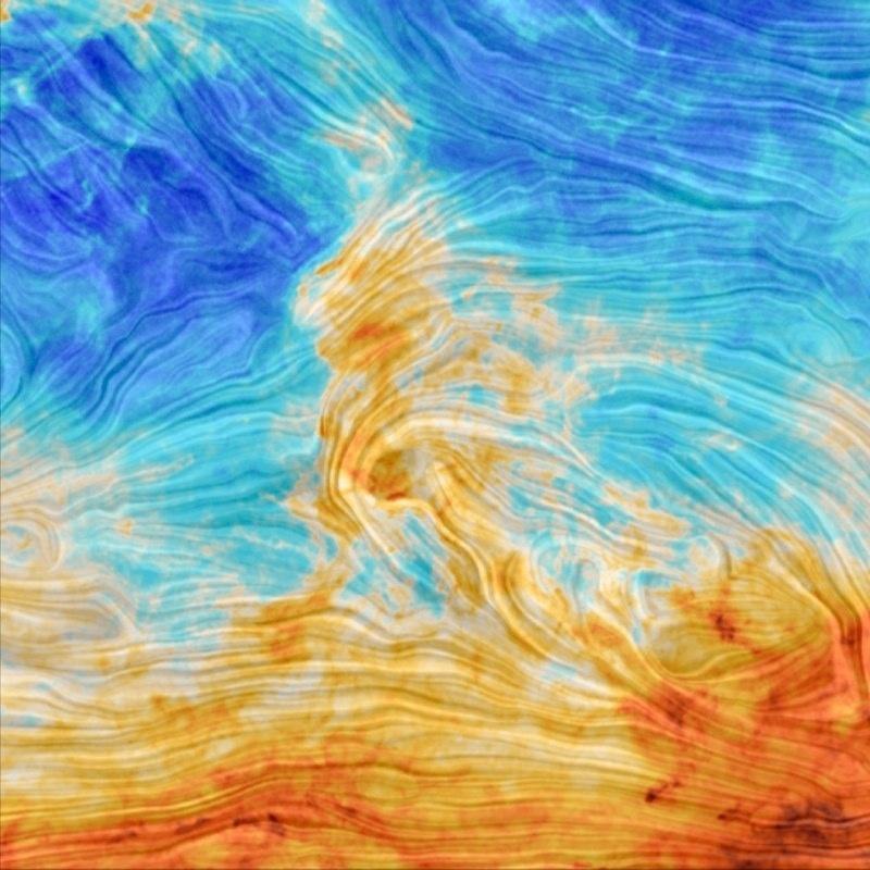 PARECE PINTURA, MAS É O NOSSO ESPAÇO - Pode acreditar: esta imagem não é o quadro de algum pintor famoso. Na verdade, é uma composição de fotos tiradas pelo satélite Planck, da Agência Espacial Europeia. Trata-se de uma nuvem de gás próxima à estrela Polaris, que fica no polo celestial norte, na região da Ursa Menor. Estes gases, que são filamentos de poeira, estão a cerca de 500 anos-luz de distância da Terra