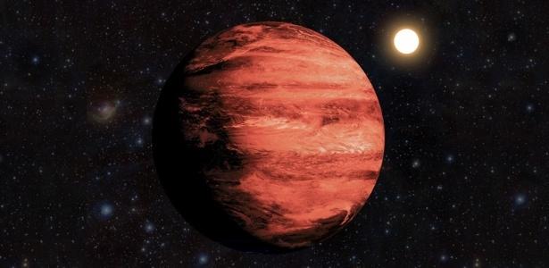 Representação artística do novo planeta descoberto por astrônomos brasileiros, situado na direção da constelação de Monoceros