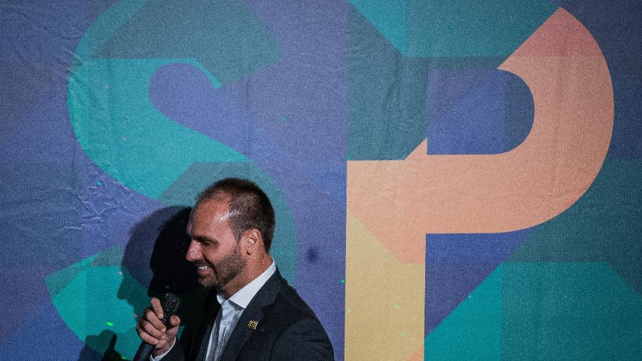 Eduardo Bolsonaro, durante cerimônia de sua posse como presidente do PSL-SP. - Eduardo Anizelli/ Folhapress, PODER