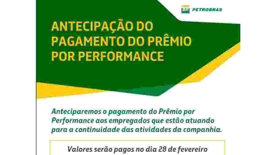 A petroleira promete pagar 30% do valor total prometido pelo PPP a cada funcionário no dia 28 de fevereiro, três meses antes do previsto - Petrobras