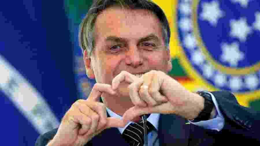 Presidente Jair Bolsonaro durante cerimônia no Palácio do Planalto -
