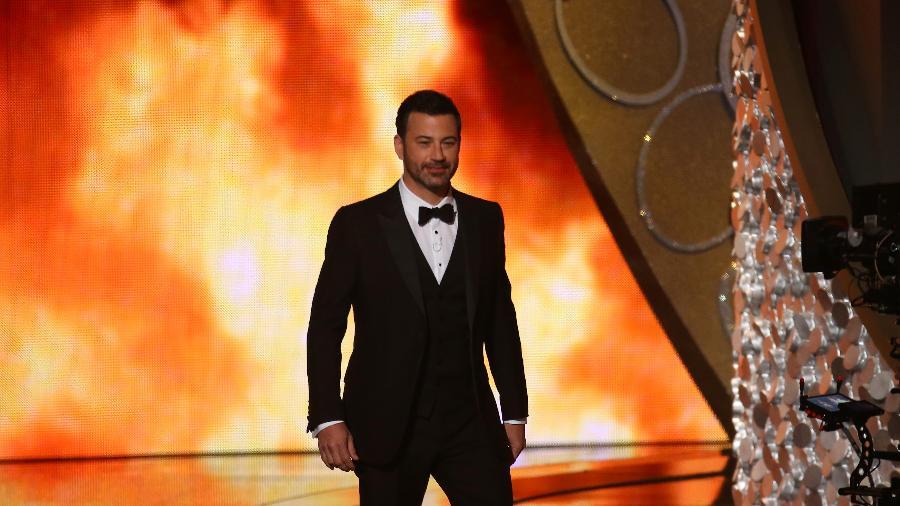 """""""É claro que não temos público. Isso aqui não é um comício do Trump"""", disse o apresentador Jimmy Kimmel na abertura do Emmy 2020 - Mike Blake"""