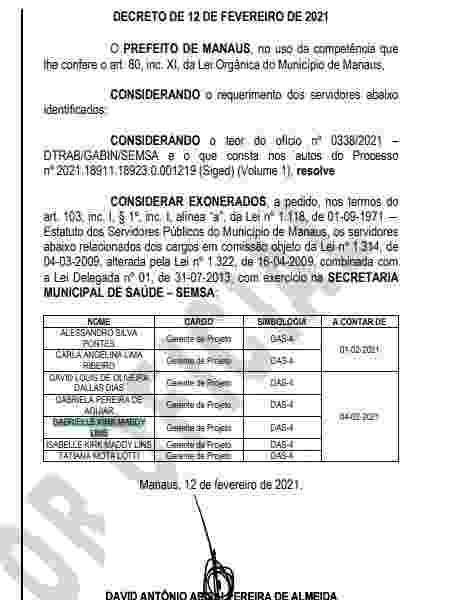 Sete médicos contratados como gerente de projetos foram exonerados em Manaus - Reprodução - Reprodução