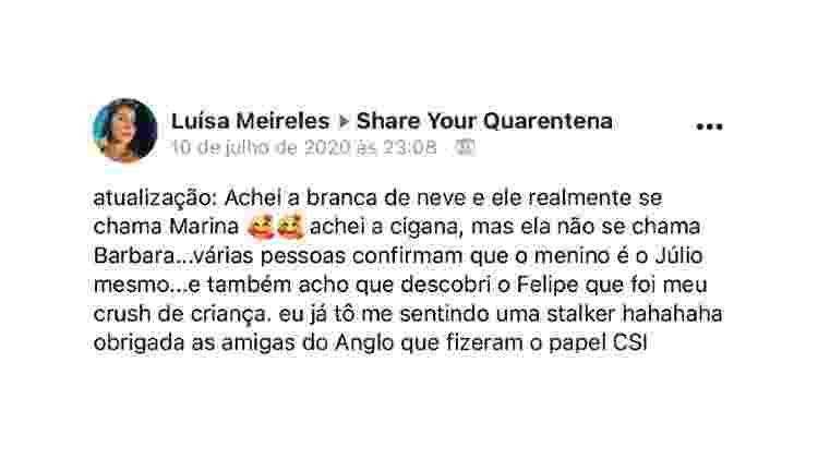 Luísa Meireles conseguiu encontrar os amigos de infância - Reprodução - Reprodução