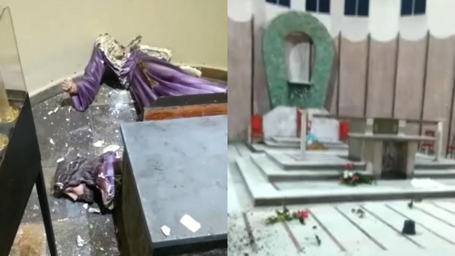 A Paróquia Nossa Senhora dos Remédios, em Osasco, teve imagens religiosas, vasos de flores e banheiros destruídos por vândalos - Reprodução/Facebook/Paróquia Nossa Senhora dos Remédios - Osasco