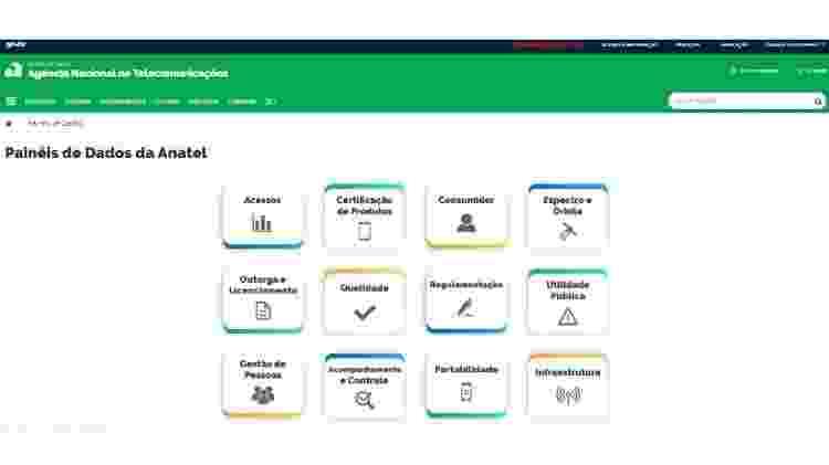 """Página inicial do """"Painéis de Dados da Anatel"""" - Reprodução - Reprodução"""