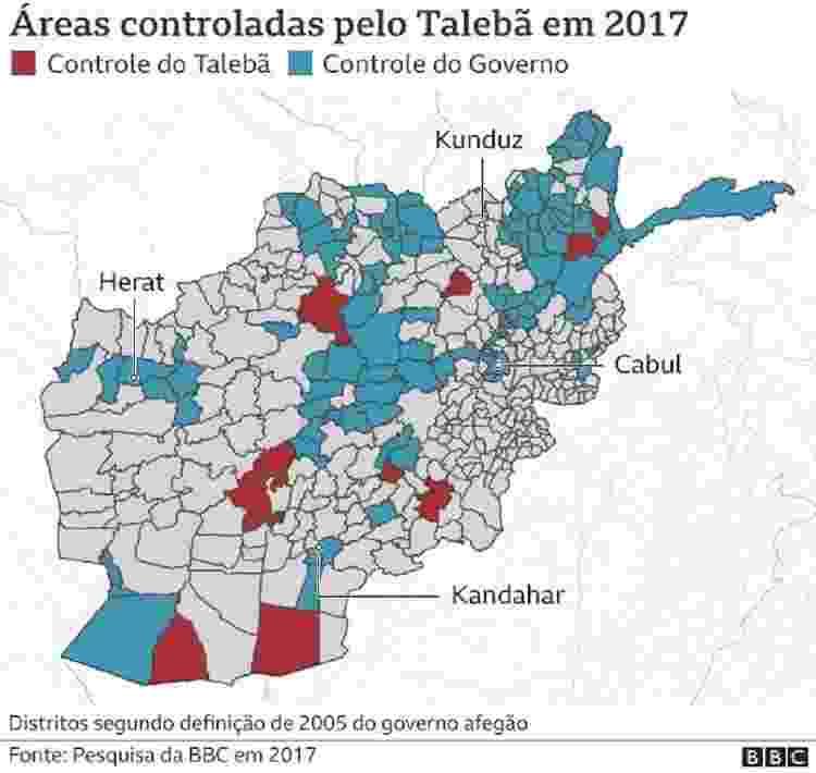 Áreas controladas pelo Talebã em 2017 - BBC - BBC
