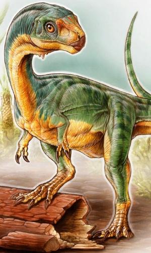 Representação artística mostra a descoberta chilena: Chilesaurus diegosuarezi. A espécie reúne uma combinação tão incomum de traços que os levou a compará-lo com um ornitorrinco, o mamífero australiano com bico de pato que coloca ovos