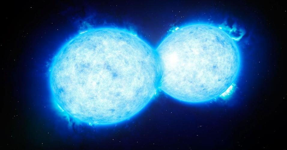 22.out.2015 - Representação artística de duas estrelas de alta massa em pleno processo de fusão, prestes a se tornar uma só. O cientista brasileiro Leonardo Almeida liderou a equipe internacional que fez a descoberta