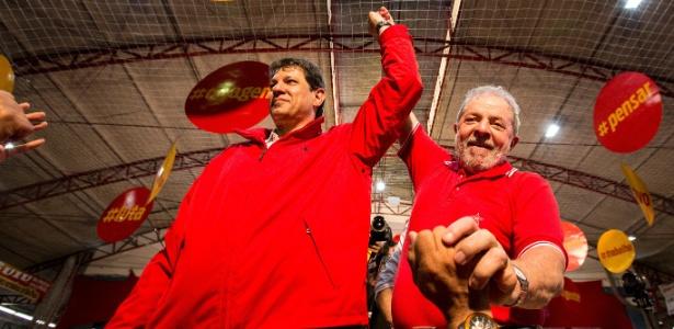Haddad e Lula em evento de campanha do prefeito de São Paulo