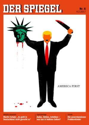 Capa da revista alemã Der Spiegel mostra Donald Trump com a cabeça decepada da Estátua da Liberdade