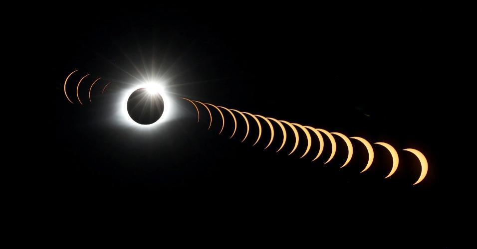 21.ago.2017 - Uma imagem de exposição múltipla mostra o eclipse solar até atingir a sua totalidade visto de Tennessee, nos Estados Unidos