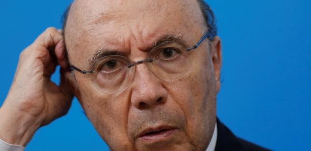 19.fev.2018 - Henrique Meirelles durante uma conferência em Brasília