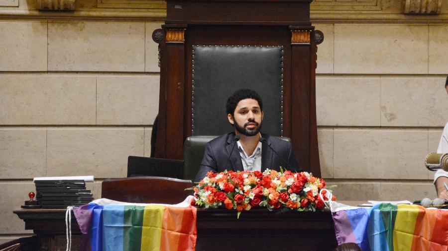 17.mai.2018 - O vereador David Miranda (PSOL) durante sessão na Câmara Municipal do Rio de Janeiro - Divulgação/Câmara do Rio