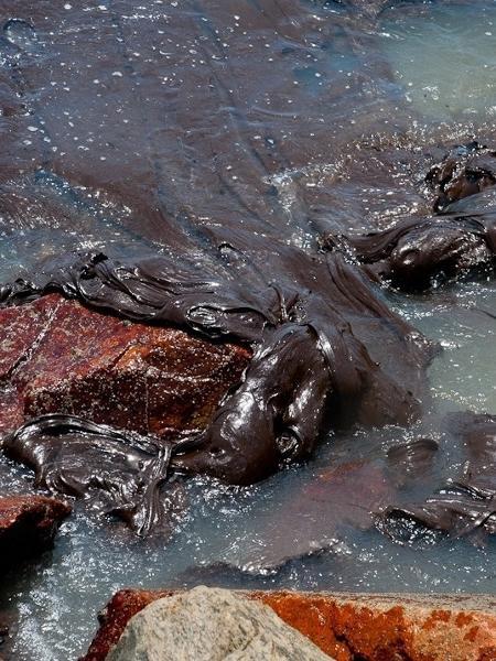 O óleo flutua sobre a água da praia dos Artistas e gruda nas pedras próximas à areia - Divulgação/Adema