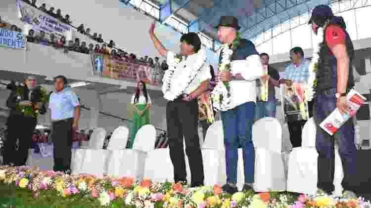 Evo Morales costuma participar da inauguração de centros comerciais em cidades médias da Bolívia - ABI via BBC
