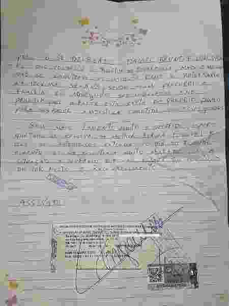 Carta escrita por vítima de roubo inocentando o jovem Heverton do crime - Divulgação/Ponte Jornalismo