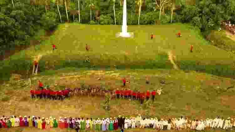 Encenação acontece em abril, no Monte das Trincheiras, ao lado do obelisco que marca a visita de Dom Pedro 2º ao local - Grupo Cultural Heroínas de Tejucupapo/Divulgação