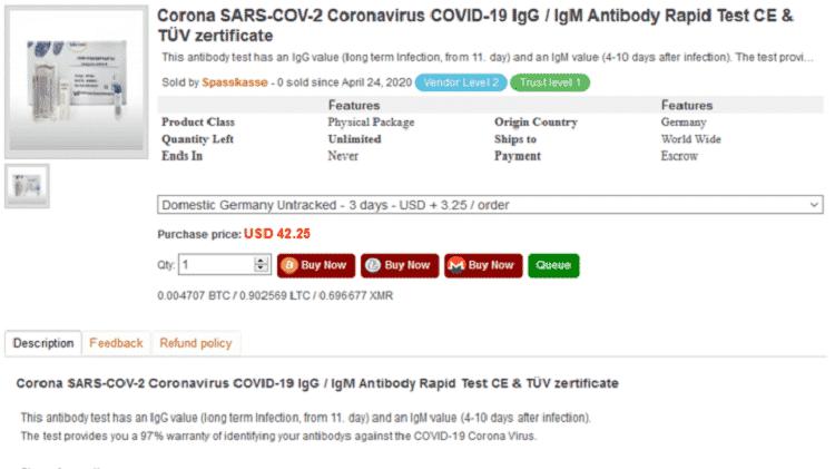Testes da covid-19 e supostos remédios são vendidos na dark web - Reprodução - Reprodução