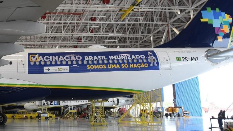 Avião da Azul que vai à Índia trazer primeiras doses da vacina de Oxford ao Brasil - Reprodução/Twitter - Reprodução/Twitter