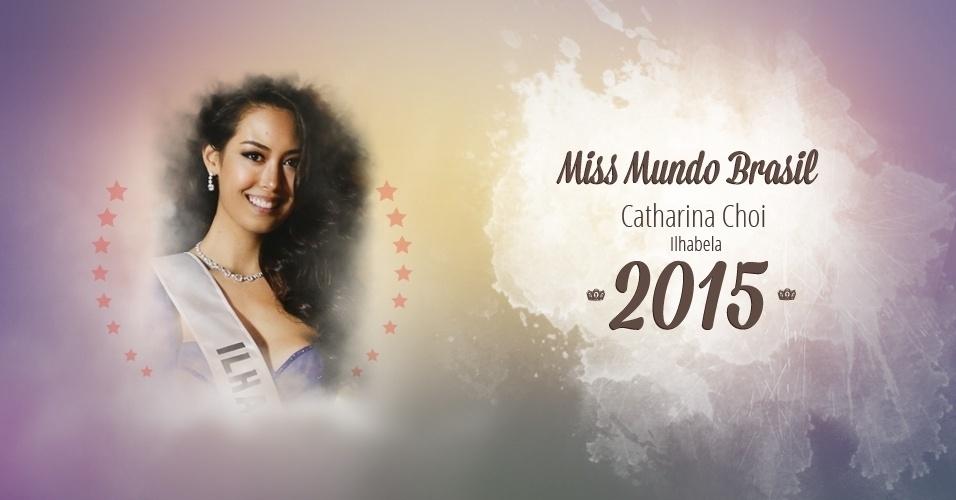 A paulista Catharina Choi representou Ilhabela (SP) e ficou com a coroa de Miss Mundo Brasil 2015, realizado em Florianópolis, depois de a primeira colocada, Ana Luísa Castro, revelar que era casada