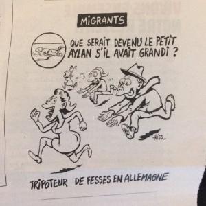 """Ilustração do cartunista Riss para a edição desta quarta-feira (13) do jornal satírico francês """"Charlie Hebdo"""" - Reprodução/Twitter"""