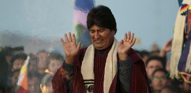 21.jan.2016 - O presidente da Bolívia, Evo Morales, participa de cerimônia que marca os dez anos de sua administração na presidência da Bolívia