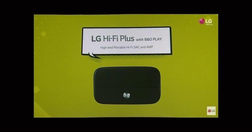 21.fev.2016 - Já o LG Hi-Fi Plus é capaz de dar vida a um player de música no próprio G5. O acessório integra um conversor digital-analógico para transformar a qualidade do áudio, que pode ser usado tanto no lançamento com em outros smartphones e PCs