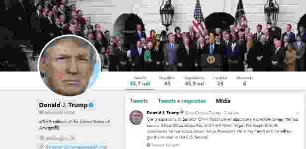 Perfil de Donald Trump no Twitter - Reprodução Twitter @realdonaldtrump - Reprodução Twitter @realdonaldtrump