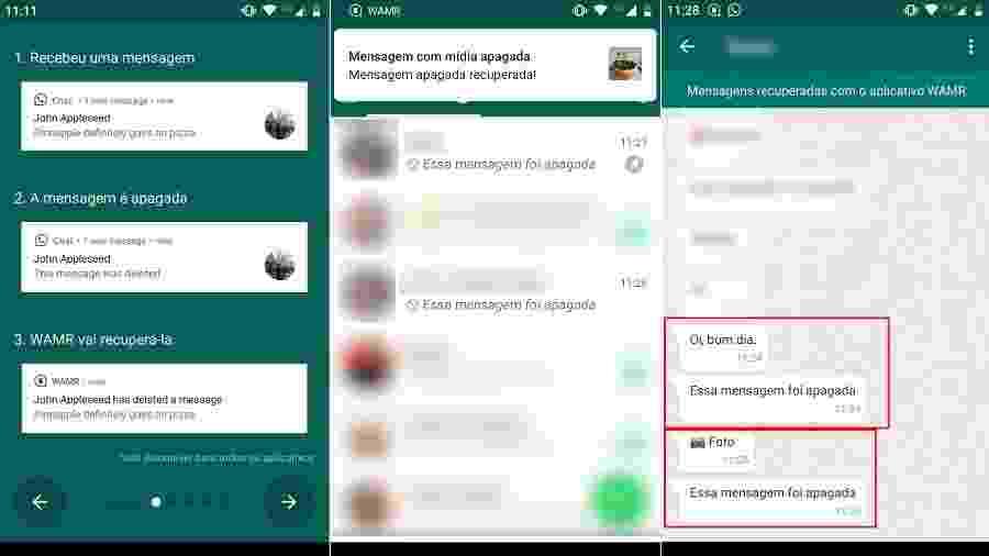 Teste do WAMR, app que recupera mensagens apagadas do WhatsApp - Reprodução