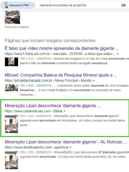 11.dez.2019 - Busca mostra notícia de portal baiano sobre suposto diamante gigante - Reprodução/Google