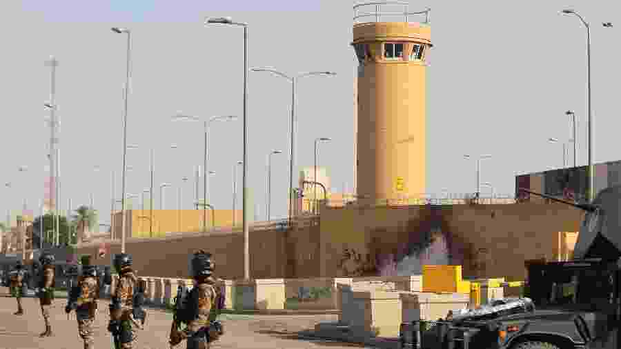 2.jan.2019 - Forças antiterrorismo do Iraque fazem a segurança da embaixada dos EUA em Bagdá - Ahmad al-Rubaye/AFP